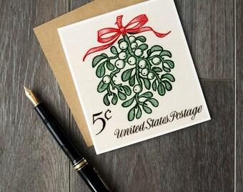 Mistletoe, Christmas mistletoe, mistletoe card, mistletoe decor, Christmas card, Xmas cards, unique Christmas, vintage Christmas, fun cards
