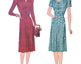 1940s Simplicity 3676 Dress Pattern | Vintage Dress Sewing Pattern Bust 36 Small