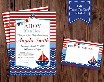 Nautica, Sailboat, Ahoy Baby Shower Invitation - Digital