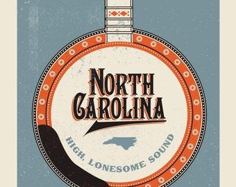 North Carolina Banjo silkscreen
