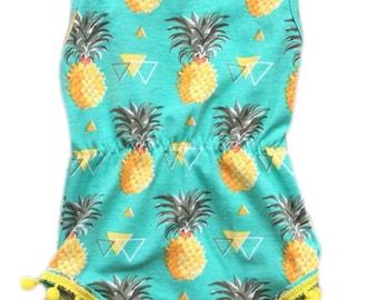 Pineapple baby girls pom pom romper