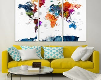 World Map Wall Art, World Map Canvas, World Map Print,  World Map Poster, World Map Art, World Map Push Pin, Push Pin World Map,