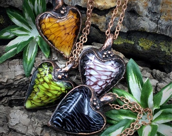 Blown Glass Necklace | Electroformed Glass Pendant | Glass Heart | Heart Necklace