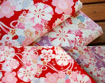 4801 - Japanese Cherry Blossom Cotton Linen Blend Fabric - 55 Inch (Width) x 1/2 Yard (Length)
