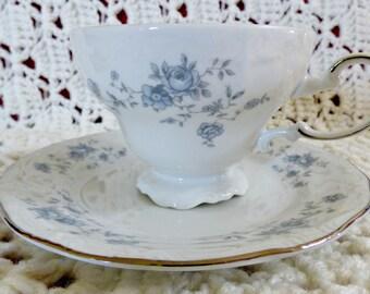Vintage Tea Cup and Saucer Johann Havilandu0027s Blue Garland Victorian Style Dinnerware & Victorian dinnerware | Etsy