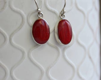Red Sponge Coral / Sterling Silver / Oval Earrings / Minimalist Jewellery / Coral Earrings / Red Shell Earrings / Natural Coral / Large Oval