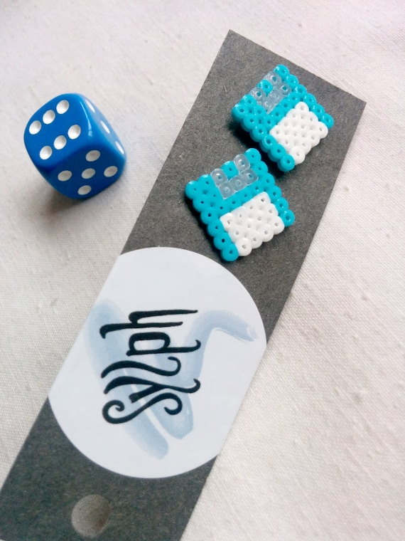 Turquoise Geek IT floppy disk shaped stud earrings for geeks and gamer girls with retro style made out of Hama Mini Perler beads