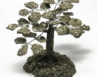 Large Pyrite Clustered Gemstone Tree (35 petals) on Pyrite Matrix