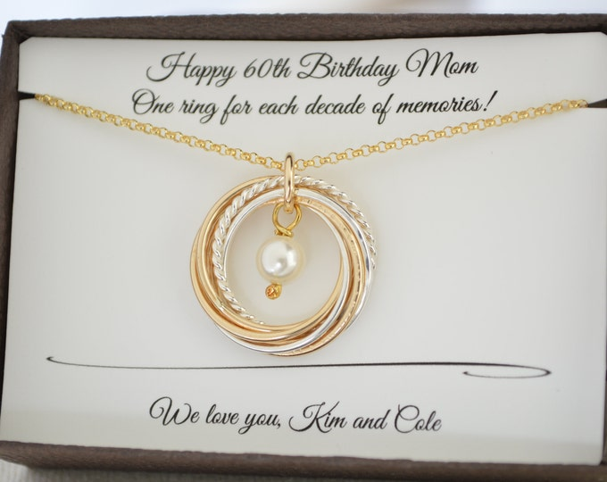 60th Birthday gift for mom, Gold pearl necklace, 60th Birthday gift for women, 6 Mixed metal rings, 6th Anniversary gift, June Birthstone