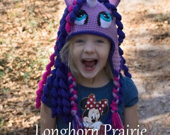 Unicorn Pony Hat with ear flaps braided ties crochet
