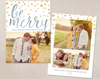 Digital Photoshop Christmas Card Template for photographers PSD Flat card - Merry Watercolor CC011