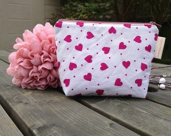 Notions Bag, case. Pink Hearts