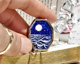 Full Moon Over the Sea Hand-Painted  Pendant
