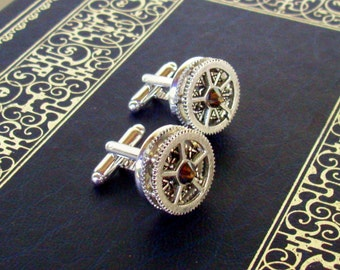 Silver Gear Cuff Link (CF503) - Silver Plated Toggle Style - Bronze Swarovski Crystal