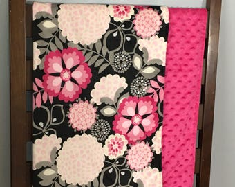 Hot pink and black minky blanket