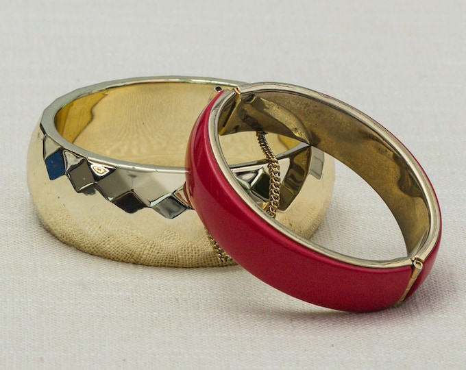 Vintage Red Shiny Gold Bracelet Bangle Set Stackable Costume Jewelry Cuff 7OO
