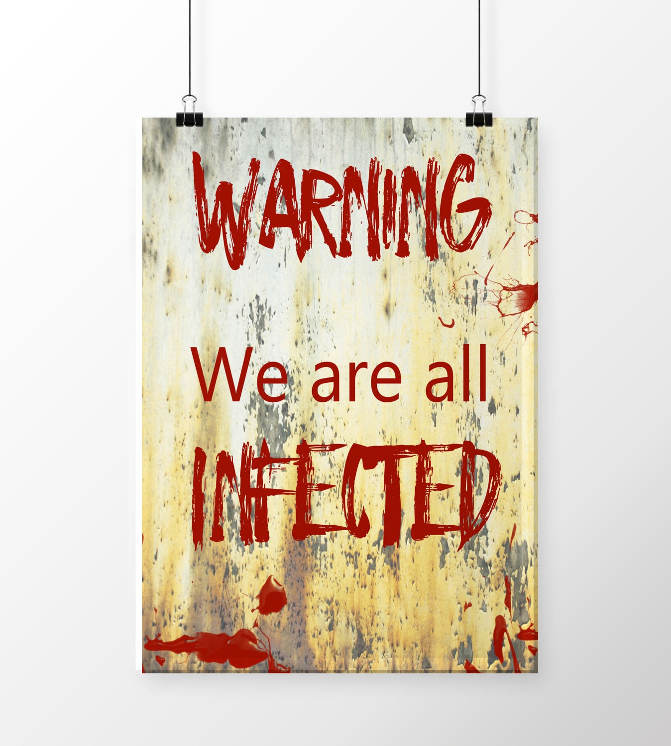Warning sign Zombie poster Zombie wall decor Zombie