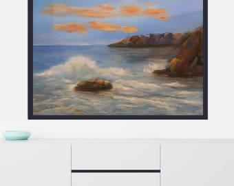 Sea painting-Oil on canvas- Oil Realistic on-Oil Painting-Sea oil painting-Super realistic painting-Sea and sky painting-Original canvas art