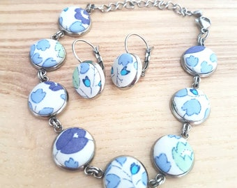 Liberty of London fabric covered button bracelet and earrings set / stainless steel metal / petite jewelry set / blue shades