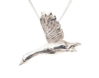 Silver Snow Goose Necklace