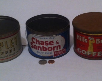 3 Vintage Coffee Tin Cans, Chase & Sanborn Coffee, Hills Bros. Coffee, Copley Coffee, Coffee Collectible Tin Cans, Shelf Display, Home Decor