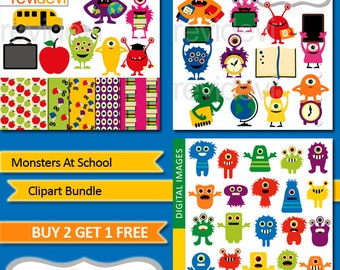 Monsters clipart / Back to school clip art bundle sale / Monsters at school digital images / cute colorful monster illustration graphics