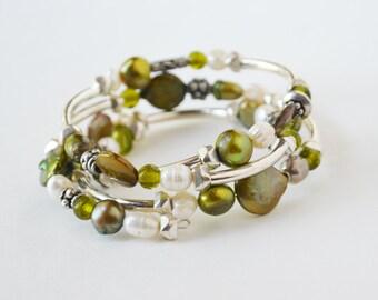 Beaded Wrap Bracelet Sterling Silver Bracelet Womens Bracelet Bangle Bracelet Green Freshwater Pearl Stackable Bracelet Womens Bracelet Boho