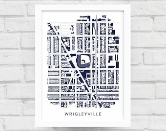 WRIGLEYVILLE CHICAGO PRINT / Chicago Cubs Poster / Wrigleyville Map / Wrigley Field / Baseball Gifts / Home Decor / Chicago Wall Art