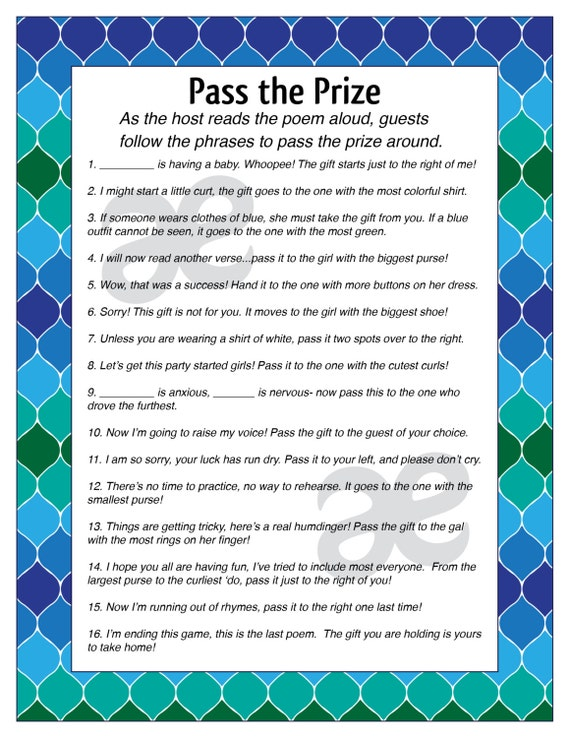 image regarding Baby Shower Pass the Prize Rhyme Printable called Child shower poem match p the present