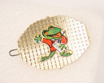 Vintage 1970s FROG Hair Clip Barrette Cute Frog Clip Hair Decoration