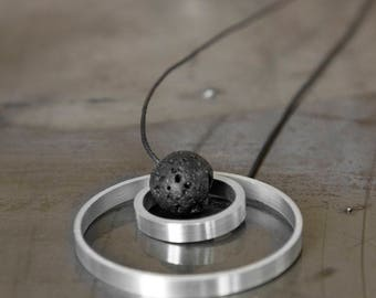 Aluminium and Vesuvio's Lava stone handmade Necklaces