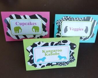 Zebra Place Cards (6), Zebra Menu Cards, Animal Place Cards, Zebra Print Birthday, Hot Pink & Zebra Birthday
