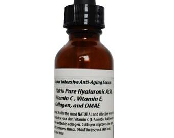 Super Intensive Anti-Aging Serum 100% Pure Hyaluronic Acid, Vitamin C, Vitamin E, Collagen, and DMAE 1oz