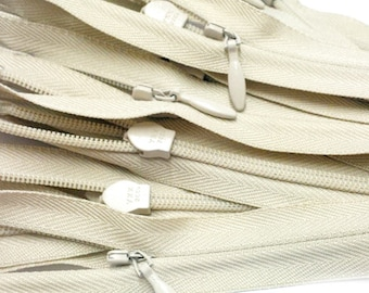 20 inch  Invisible Zipper Closed Bottom  Color 572 Natural (20 zippers a pack)