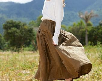 maxi linen skirt in brown, linen skirt, pleated skirt, deep pockets skirt, , black, gray, full length skirt, party skirt, long linen