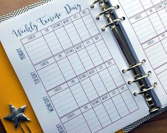 A5 Exercise Printed Planner Inserts | Exercise Tracker | Workout Tracker | A5 inserts large Kikki K Filofax planner refill