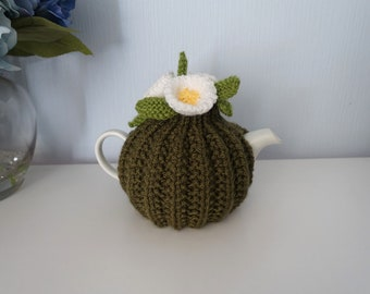 Small Tea Cosy - Olive Green Tea Cosy - Floral Tea Cosy - Flower Tea Cosy - 1 Cup Tea Cosy  (MADE TO ORDER)