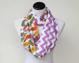 Chevron and feathers color block infinity scarf soft jersey knit scarf boho bohemian purple lilac green orange white - loop scarf