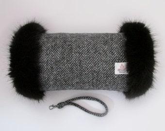 Harris Tweed 100% Wool Black & Charcoal Herringbone Hand Muff with Black Faux Fur Trim