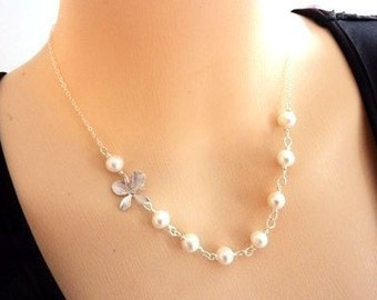 White Fresh Water Pearl, Silver Orchid Flower Necklace in Sterling Silver Chain