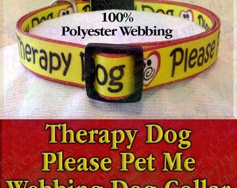 Misfit Paws Polyester Webbing Therapy Dog Please Pet Me Designer Novelty Dog Collar