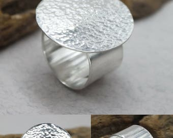 Hammered Ring Sterling Silver Disc Ring Big Circle Ring Wide Silver Ring Rings For Women Silver Band Ring Wide Band Ring Large Round Ring