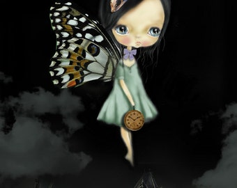 """LIMITED EDITION print signed numbered Chrishanthi' """"Fairy girlsmeasures 7.4""""x10.7"""" inches"""", lowbrow pop surreal big eyes ,  gothic art"""