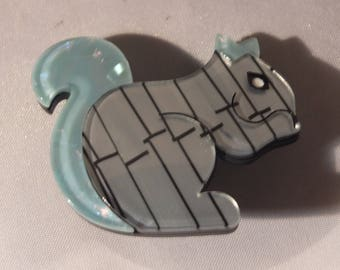 small squirrel brooch , acrylic, celluloid, perspex, art deco, lucite, rockabilly