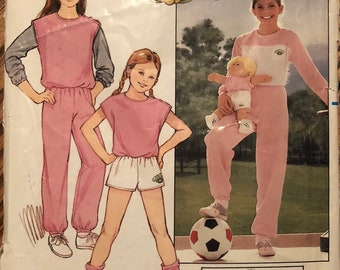 Vintage Butterick 6705 Cabbage Patch Kids Sewing Pattern / Girl's Top, Vest, Shorts and Pants Size 7-8-10 Uncut With Iron on Transfers