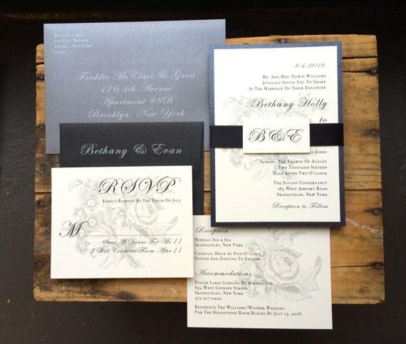Black Tie Wedding Examples: Elegant Wedding Invitation Black And White Wedding Black Tie