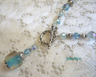 Ice Queen Blue Dichroic Sterling Necklace