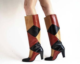 Size 6: Valley Shoes Brown Tones and Orange Tall 70's Vintage Woman's High Heel Retro Leather Boots