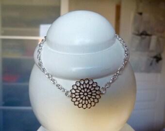 Bracelet, silver metal, print, rose, flower, copper chain