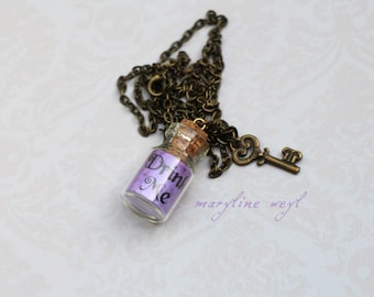 Necklace vial drink me purple